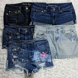 American Eagle LOT of 5 Shorts Skirts Size 8